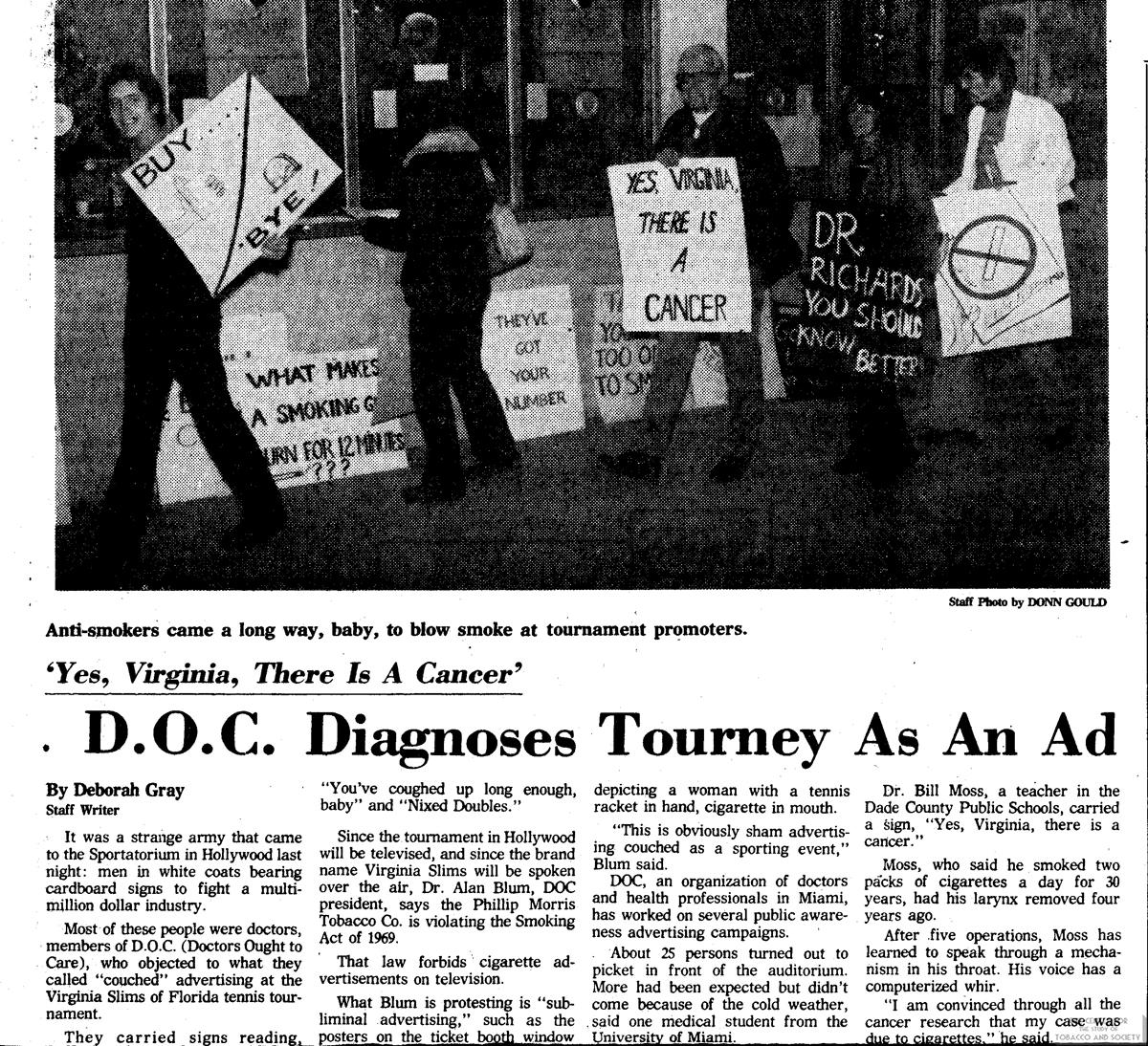 1978 01 11 Ft Lauderdale News DOC Diagnoses Tourney as Ad