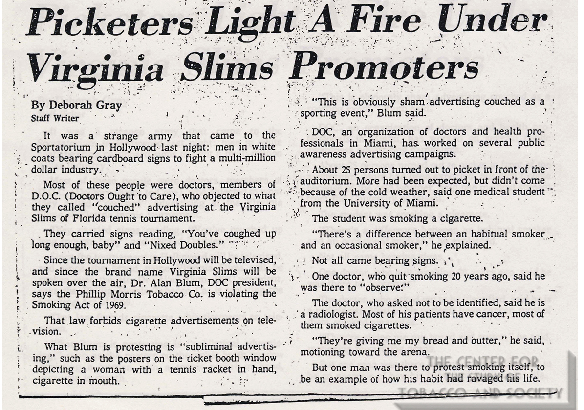 1978 01 11 Ft Lauderdale News Picketers Light Fire Under VA Slims Promoters