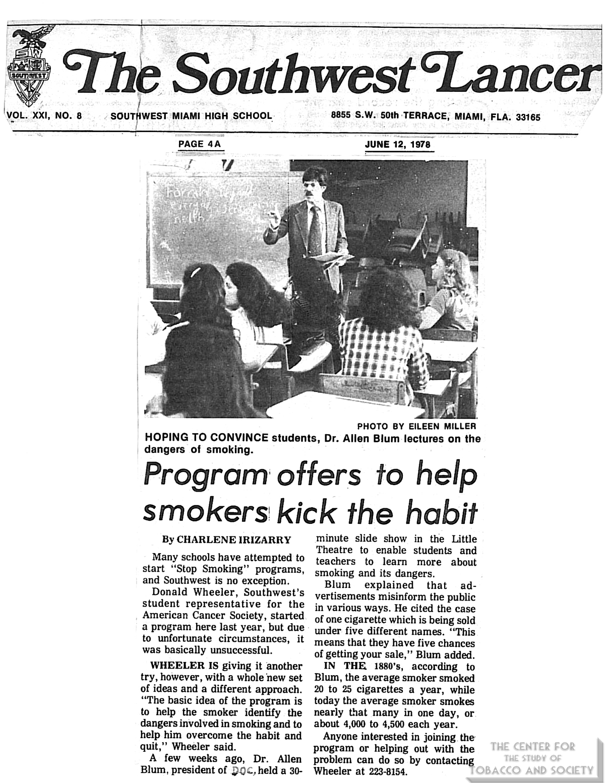 1978 06 12 Southwest Lancer Program Offers to Help Smokers Kick Habit