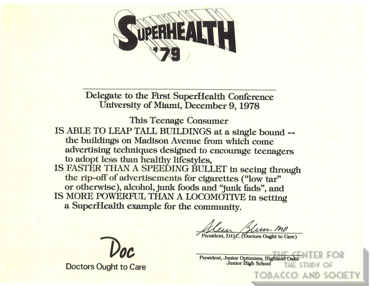 1978 12 09 SuperHealth 79 Conf Delegate Certificate