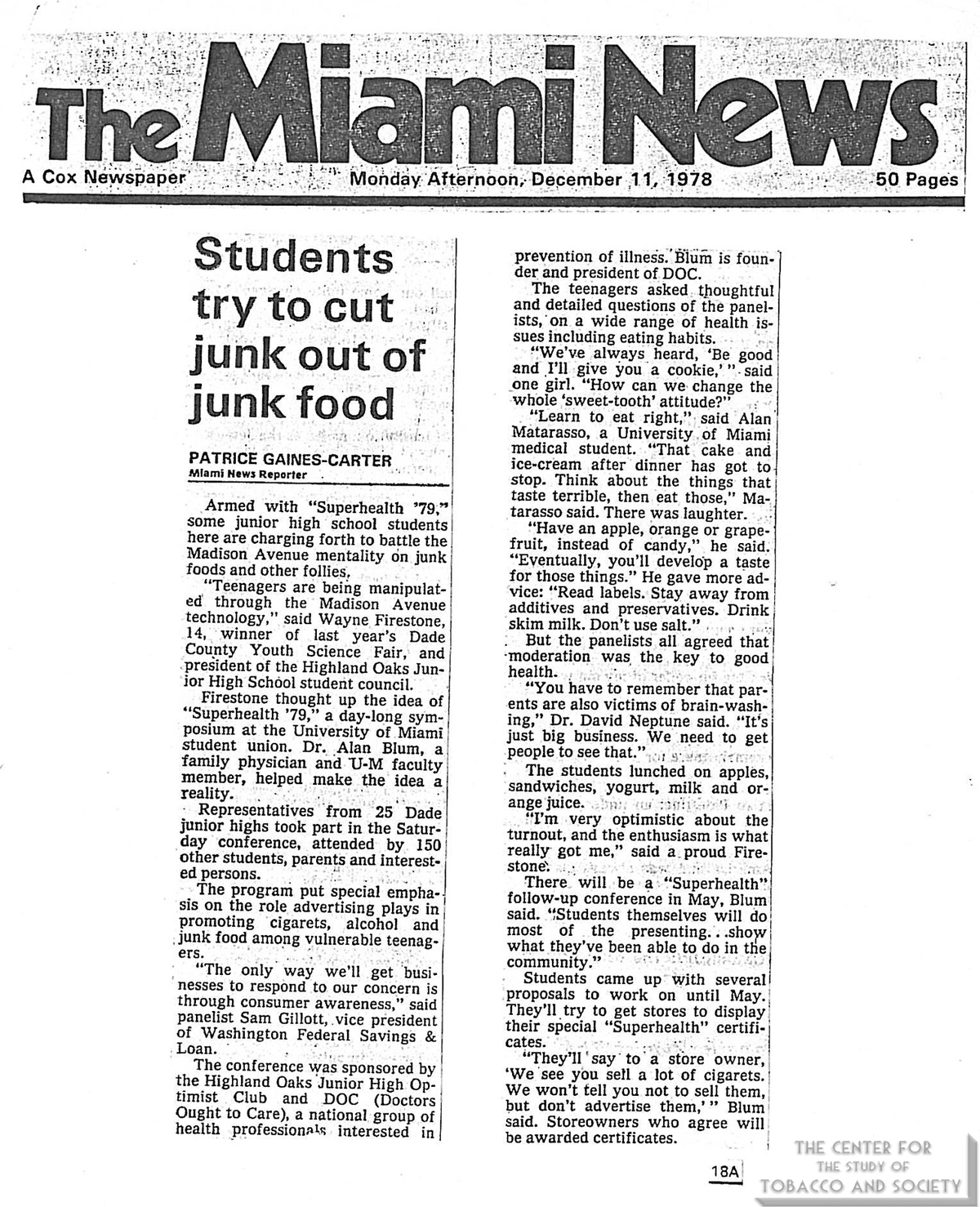 1978 12 11 Miami News Students Try to Cut Junk Out of Junk Food