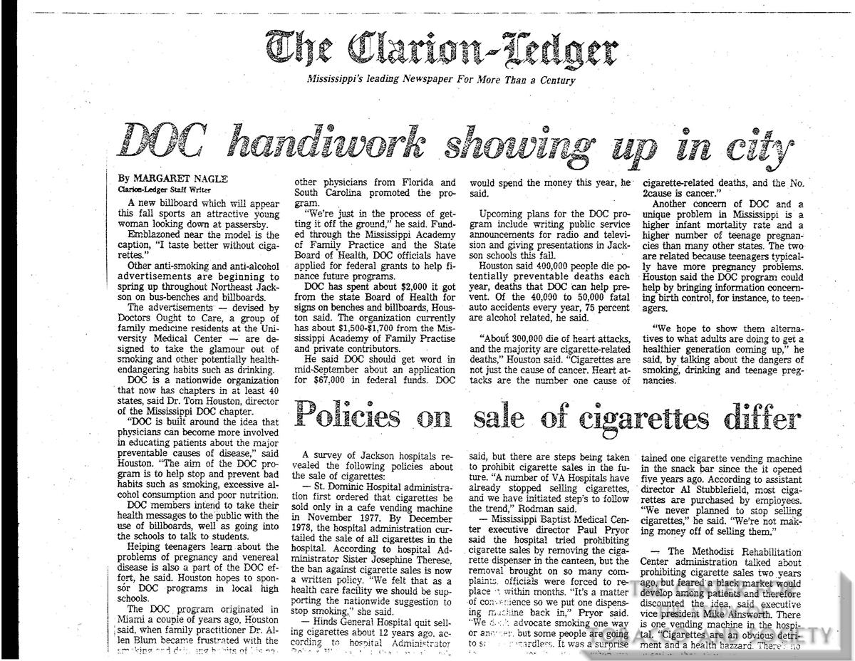1978 Clarion Ledger DOC Handiwork Showing Up in City