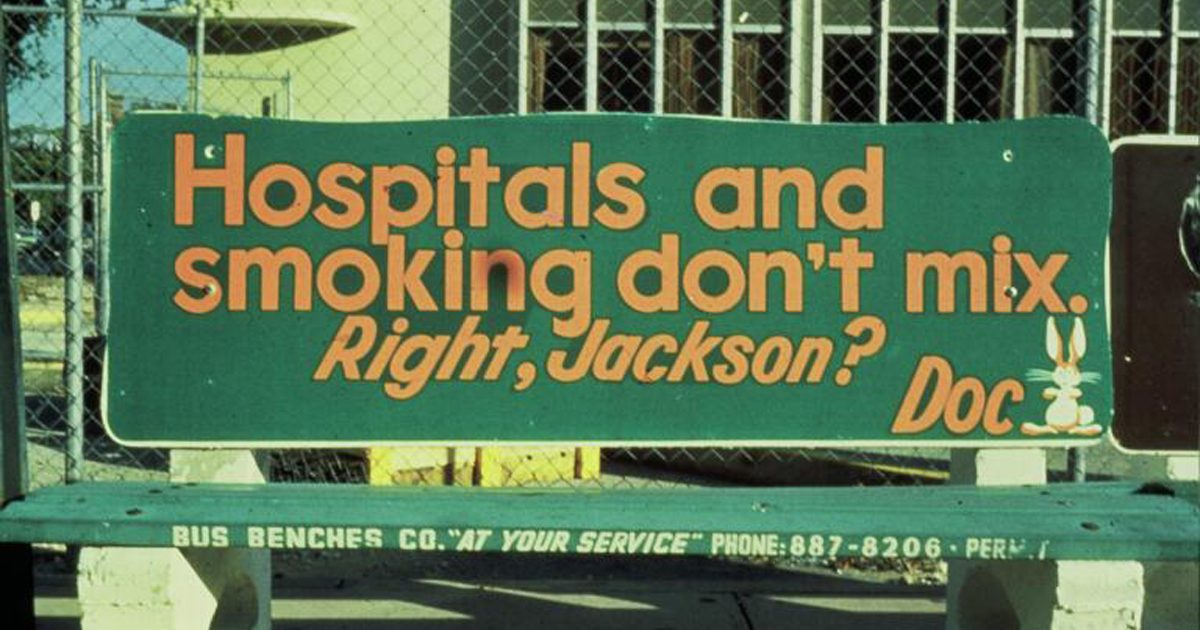 1978 DOC Bus Bench Hospitals Smoking Dont Mix