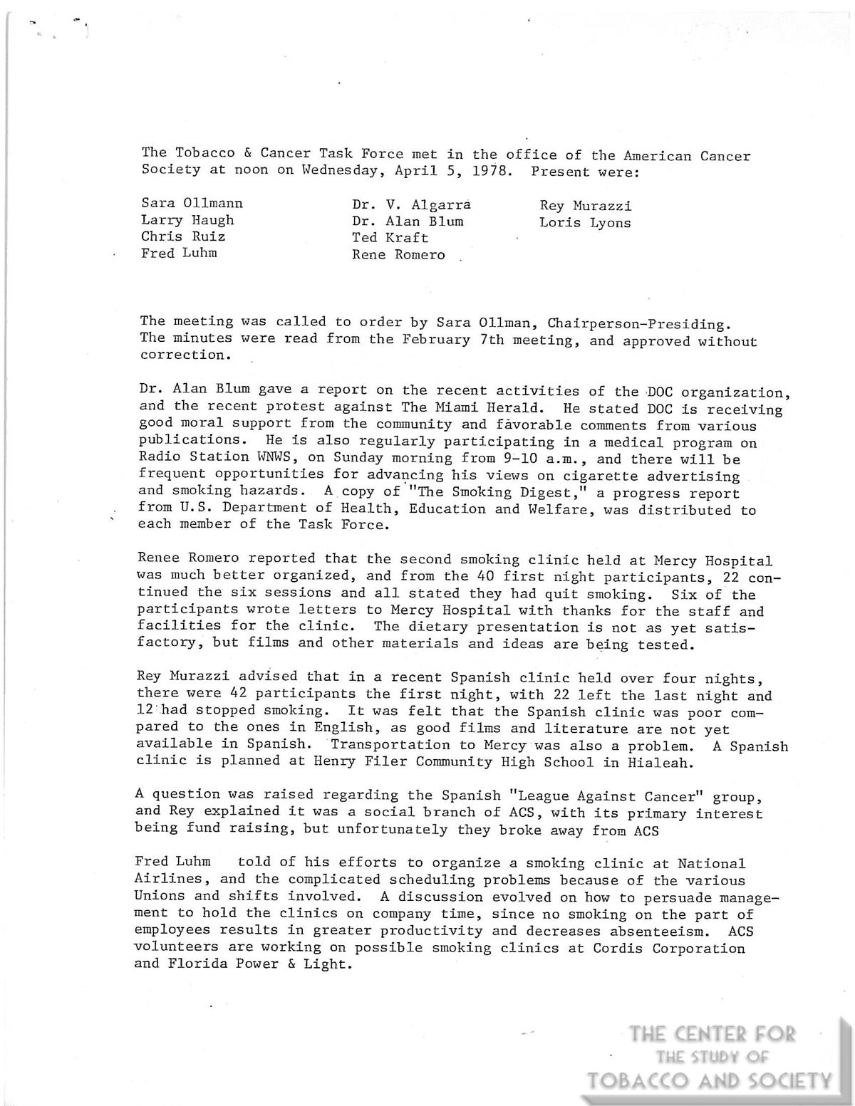 1978 Tobacco Cancer Task Force Meeting Minutes