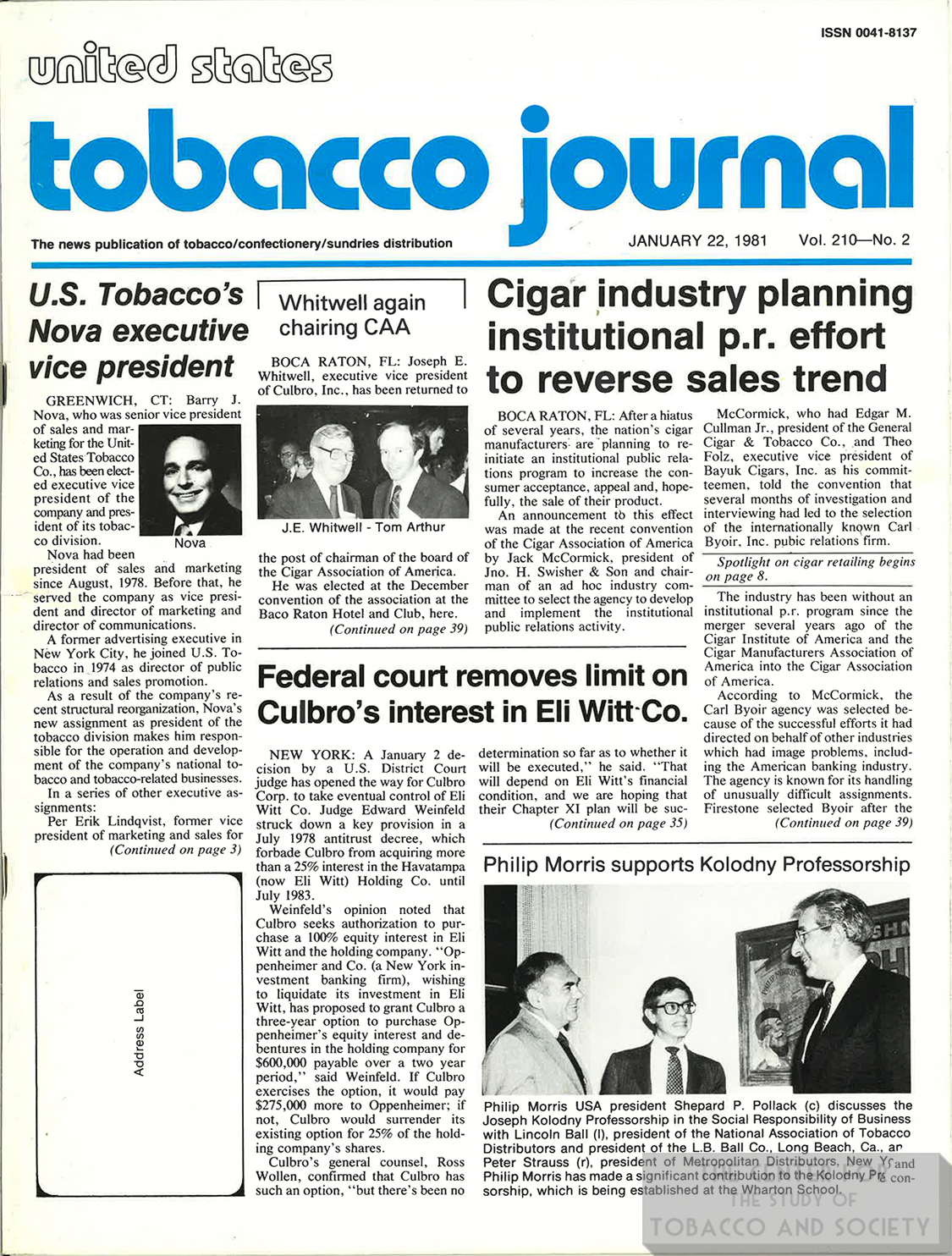 1981 01 22 US Tobacco Journal Cigar Industry Planning PR Effort