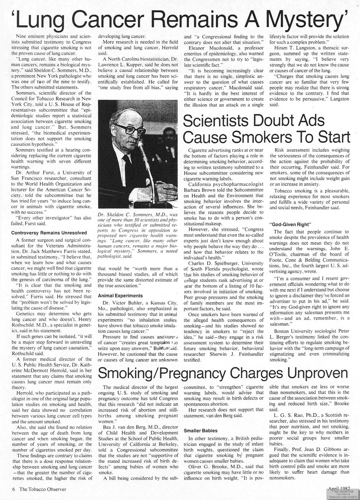 1982 04 Tobacco Observer Lung Cancer Remains a Mystery
