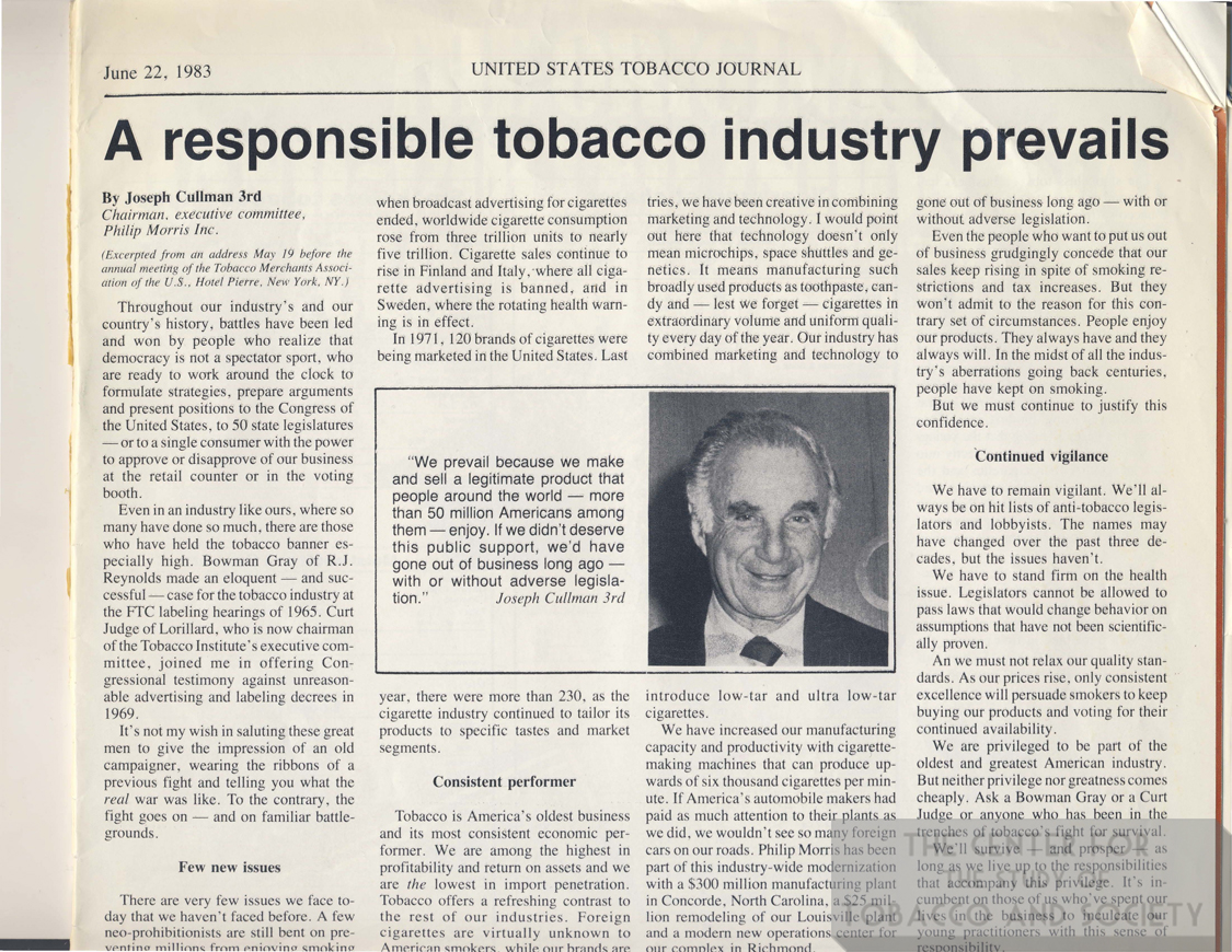 1983 06 22 US Tobacco Journal A Responsible Tobacco Industry Prevails