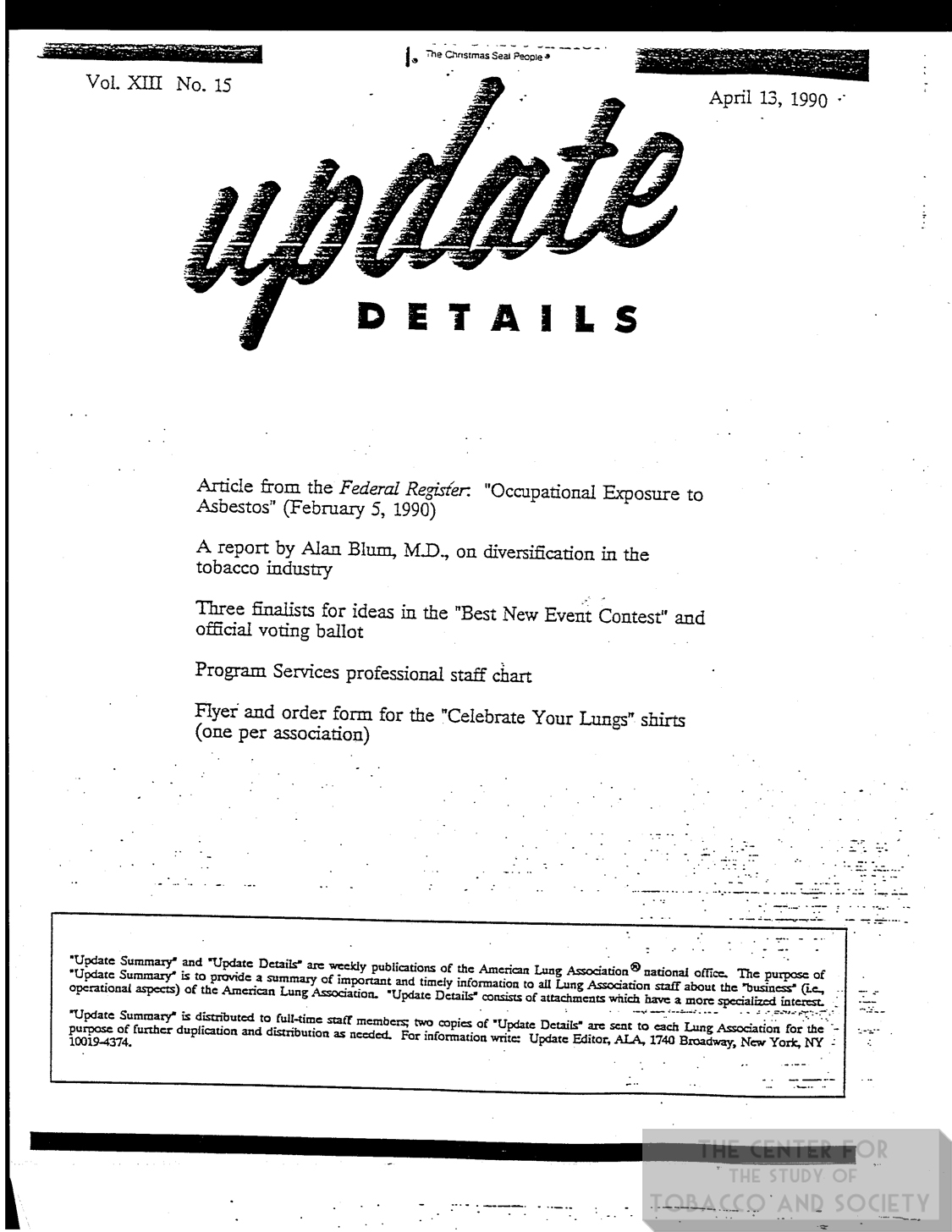 1990 04 13 ALA Update Details Report on Diversification in Tobacco Industry