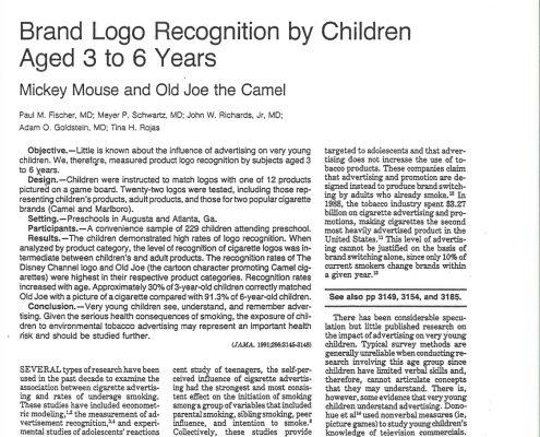 1991 12 11 JAMA Brand Logo Recognition by Children