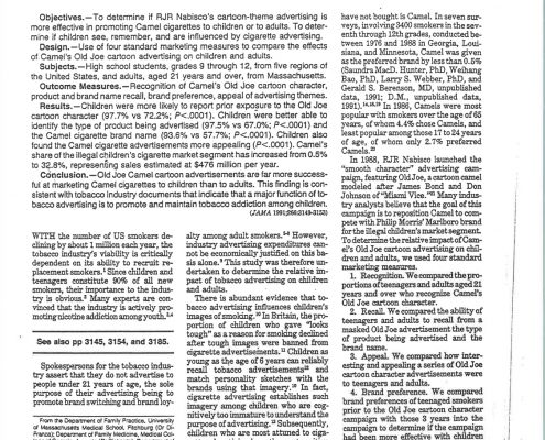 1991 12 11 JAMA RJR Nabiscos Cartoon Camel Promotes Cigs to Children