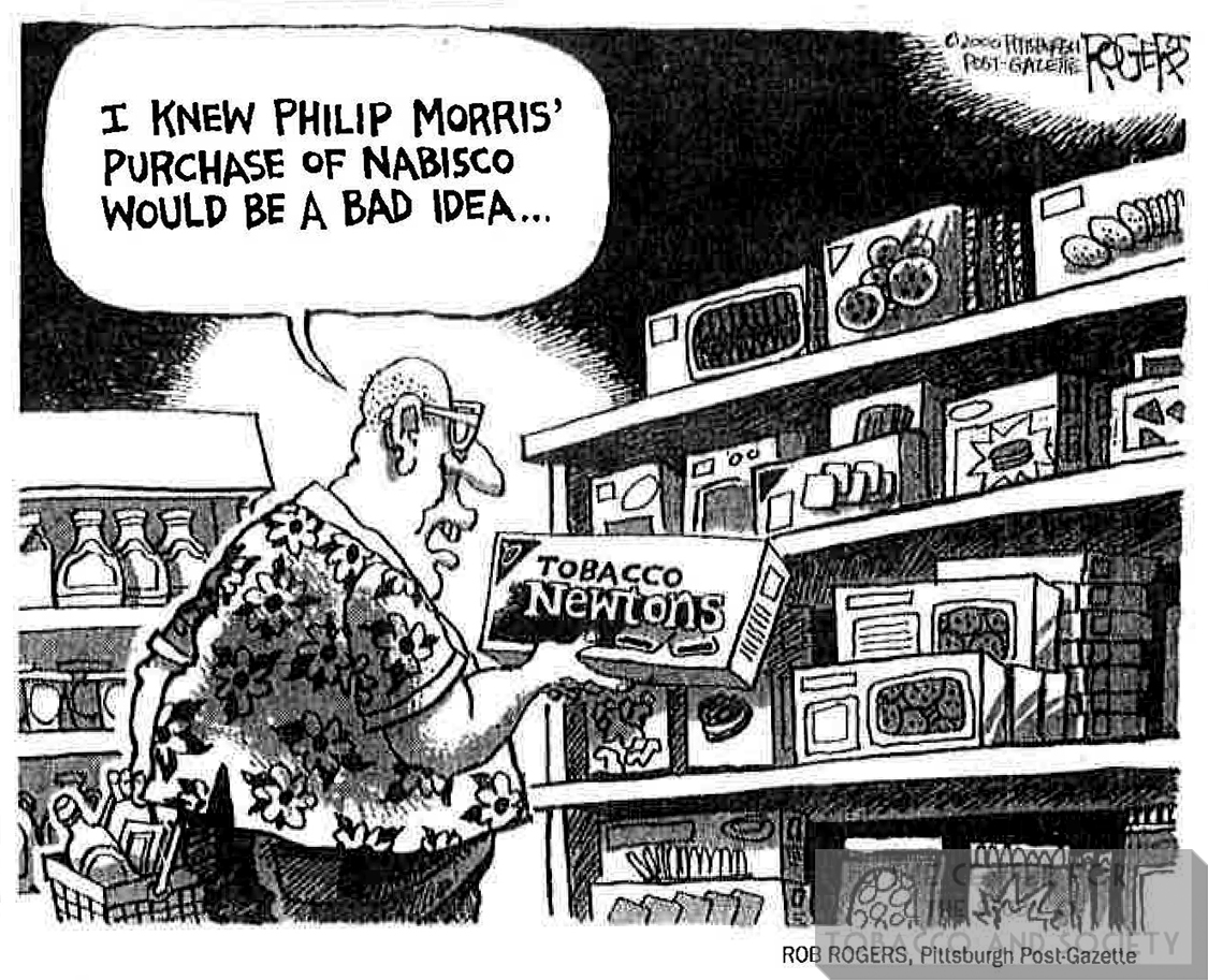 2000 Rob Rogers Pitsburgh Post Gazette I knew Philip Morris purchase of Nabisco would be a bad idea