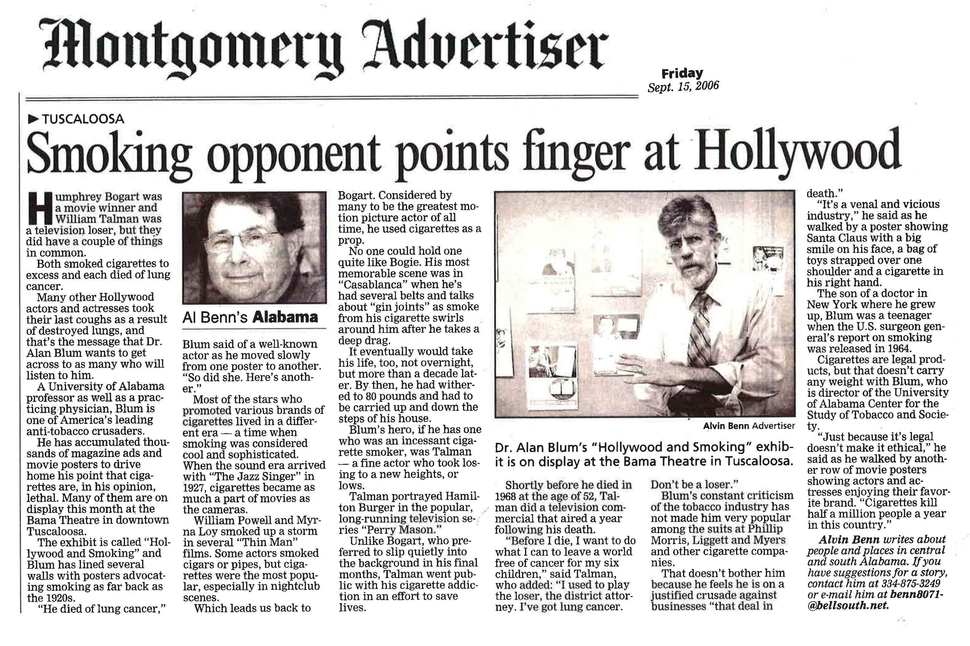 2006 09 15 The Montgomery Advertiser Smoking opponent points finger at Hollywood