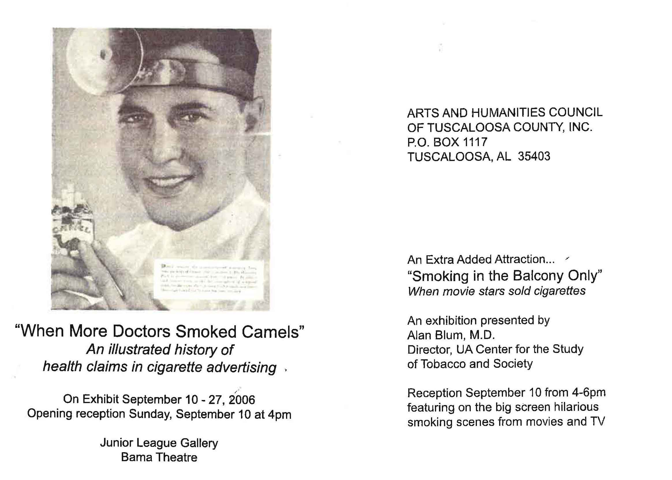 2006 Postcard Arts and Humanities Council of Tuscaloosa County An added attraction Smoking in the Balcony Only