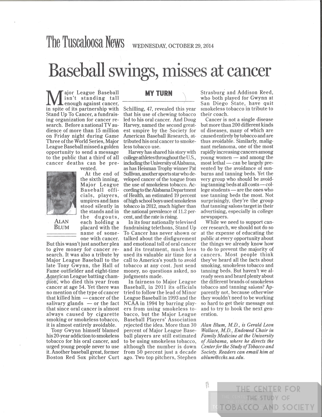2014 Tusc News Baseball Swings Misses Cancer wm