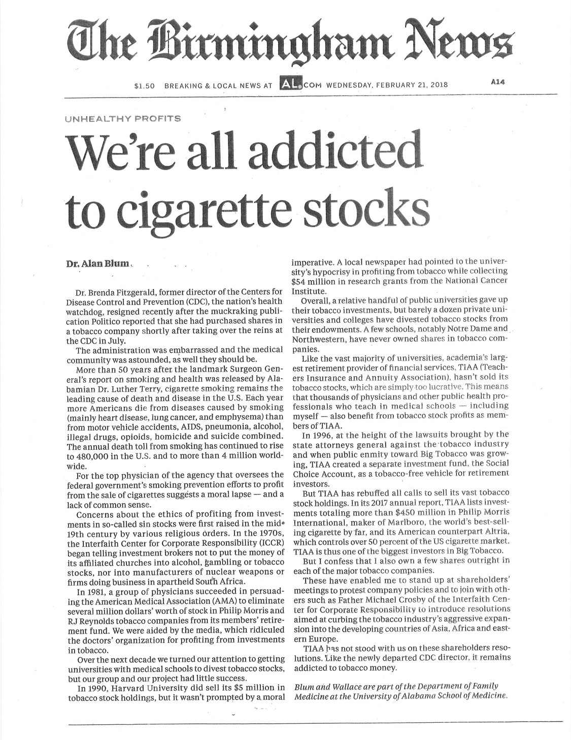 2018 02 21 Blum Birmingham News Were all addicted to tobacco stocks 1