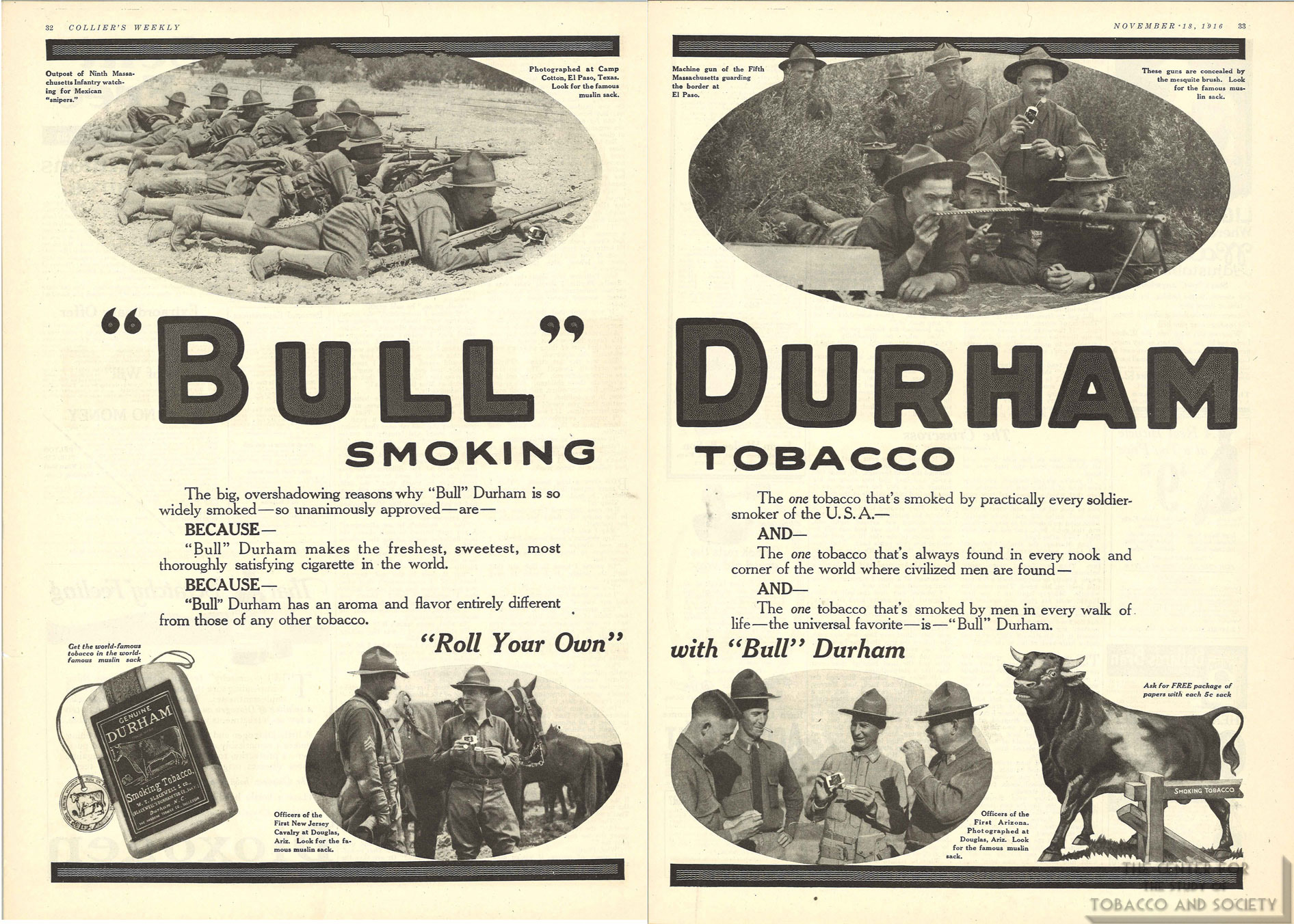 1916 11 18 Colliers Weekly Bull Durham Tobacco Ad