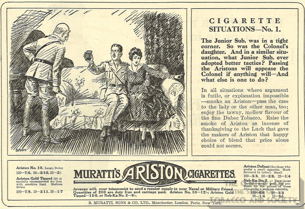 1916 Punch Muratti Ariston Ad Cig Situations No 1