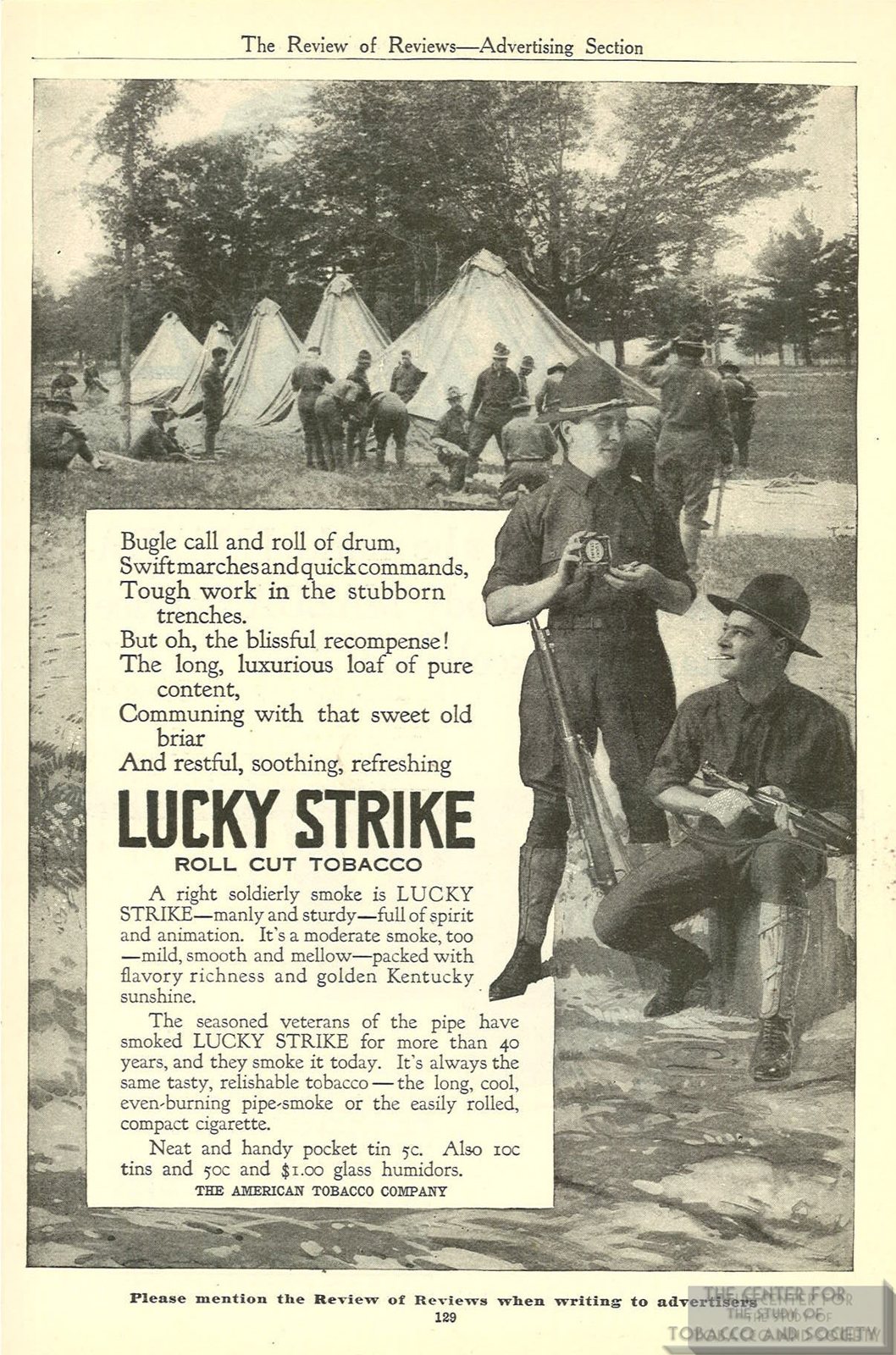1916 Review of Reviews Lucky Strike Ad