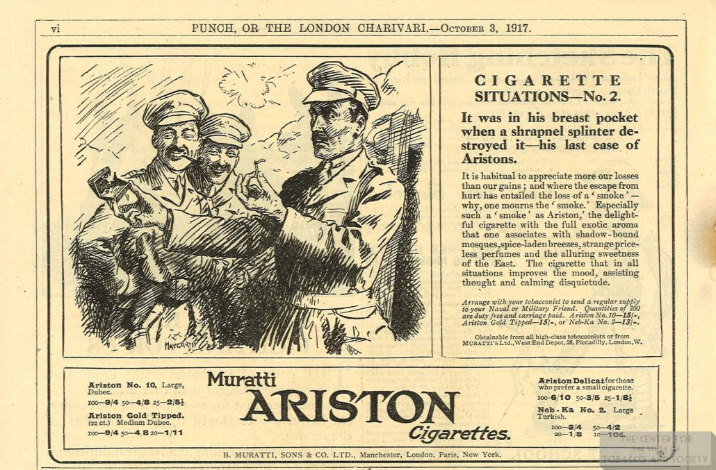 1917 10 03 Punch Muratti Ariston Ad Cig Situations No 2