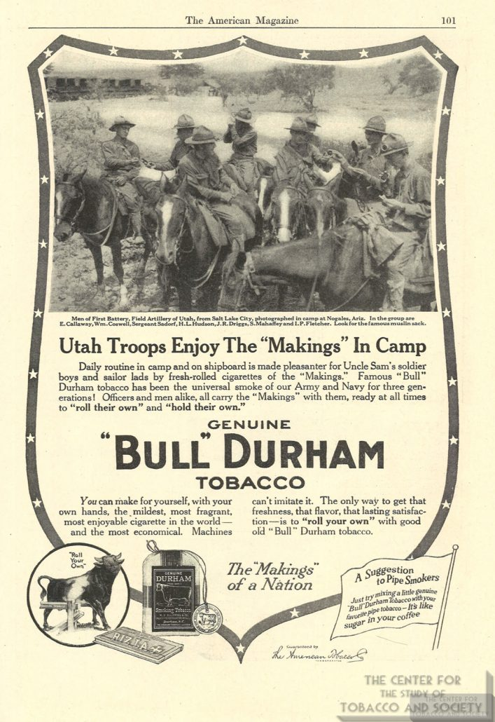 1917 American Magazine Bull Durham Tobacco Ad Utah Troops