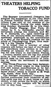 1917 Times Picayune Theaters Helping Tobacco Fund