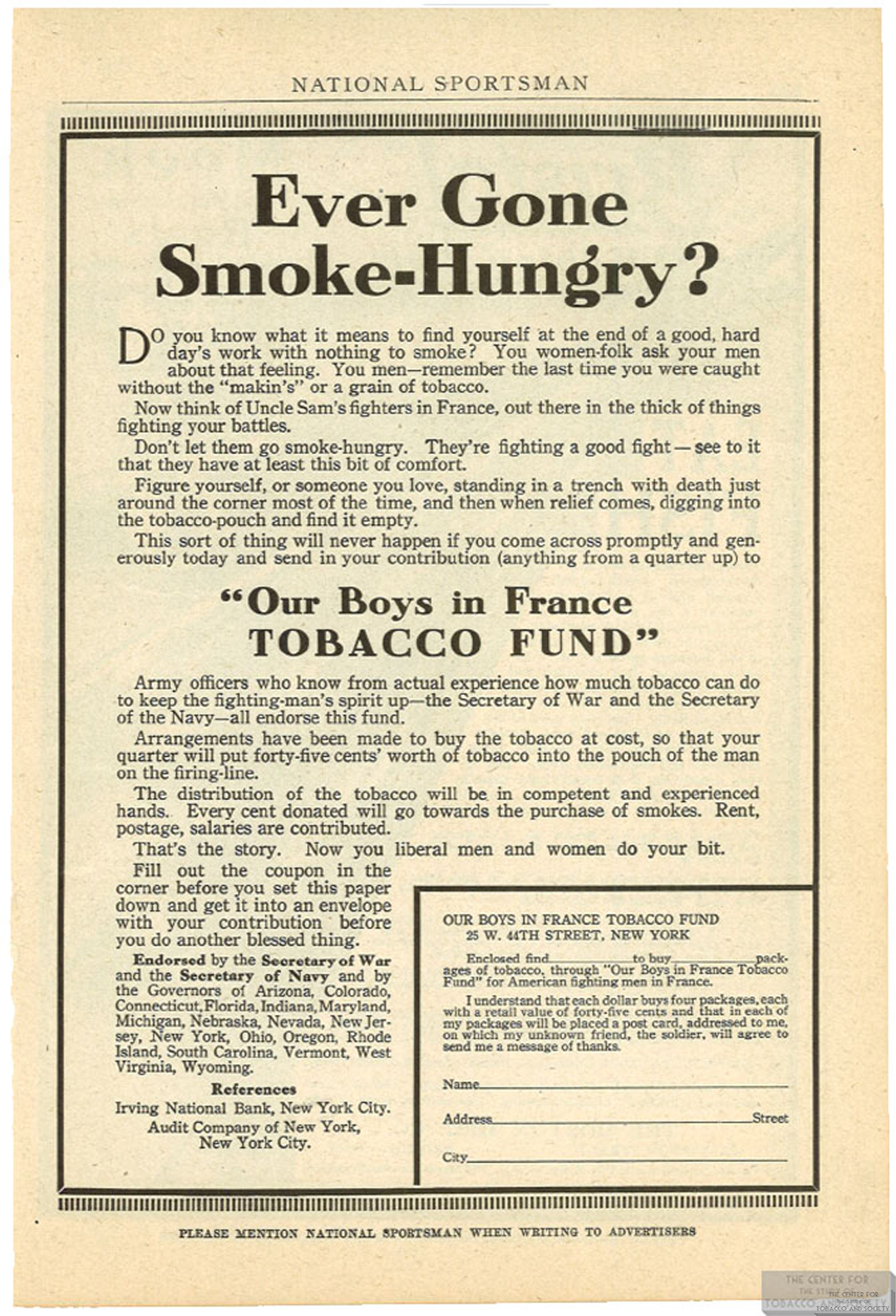1918 02 Natl Sportsman Our Boys in France Tobacco Fund Ad