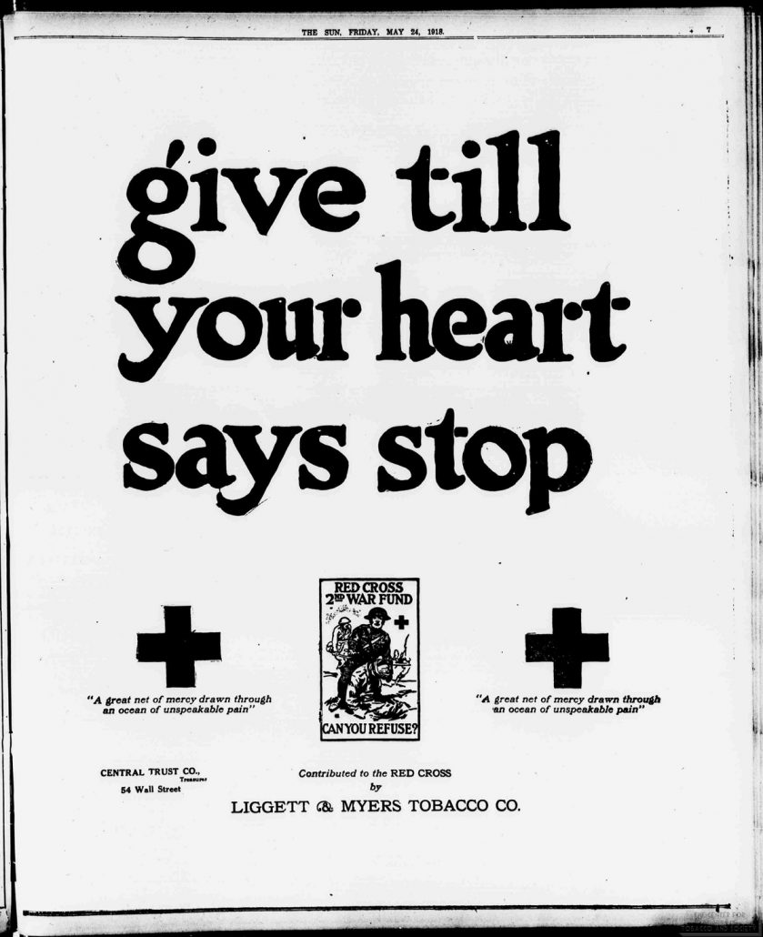 1918 05 24 The Sun Red Cross Ad Give Till Your Heart Says Stop resized