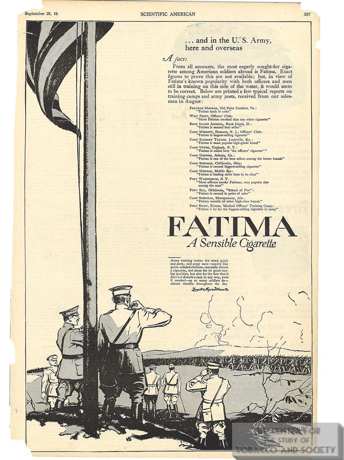 1918 09 28 Scientific American Fatima Ad In the US Army