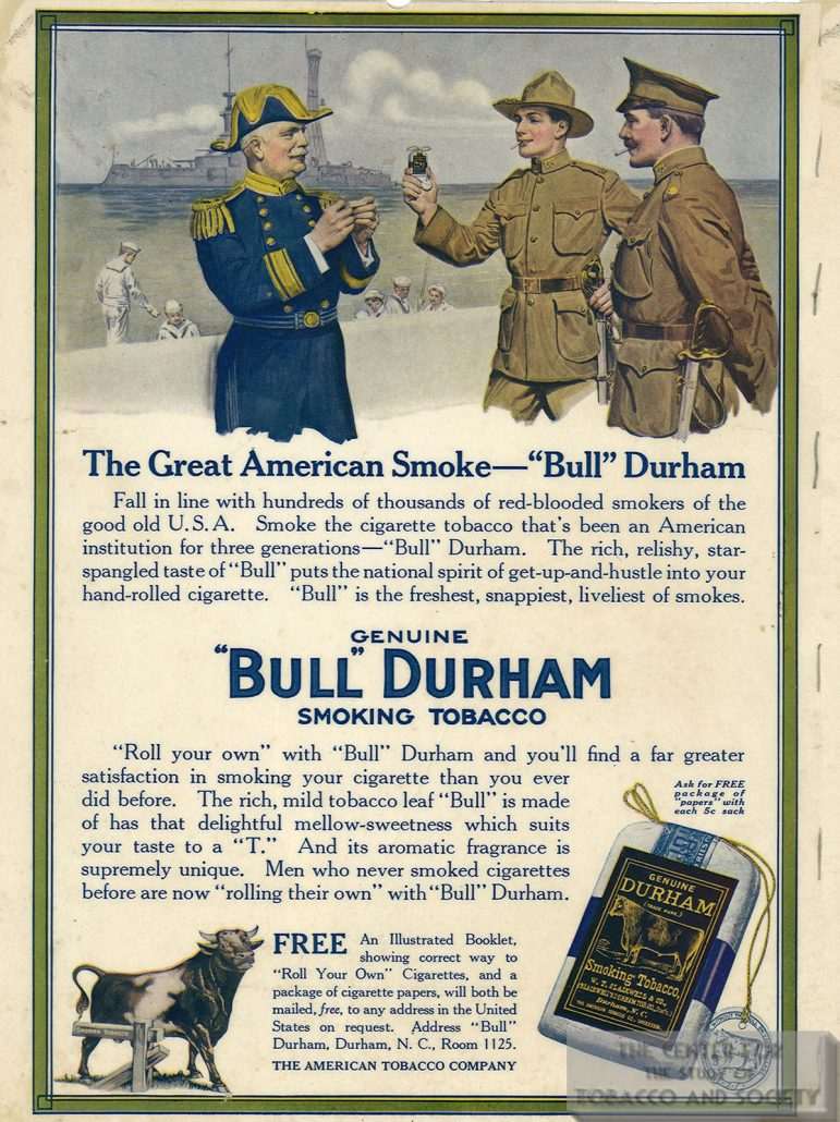 1918 Bull Durham Tobacco Ad Great American Smoke color