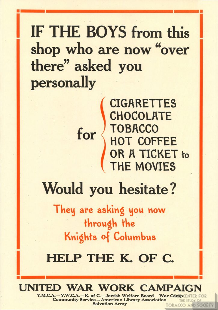 1918 Knights of Columbus Ad Supply Tobacco