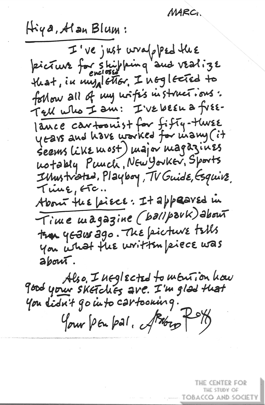 2004 03 Arnold Roth to Alan Blum