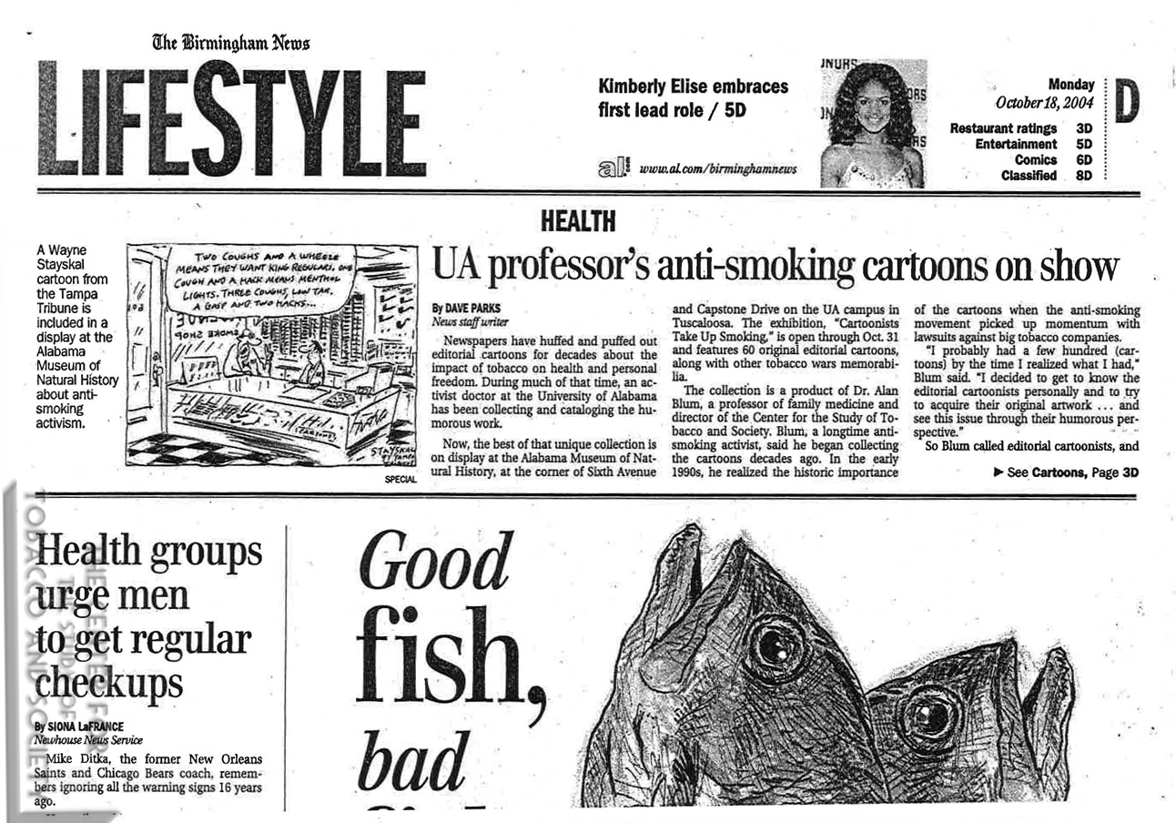 2005 UAB Exhibition Birmingham News UA Professors anti smoking cartoons on show