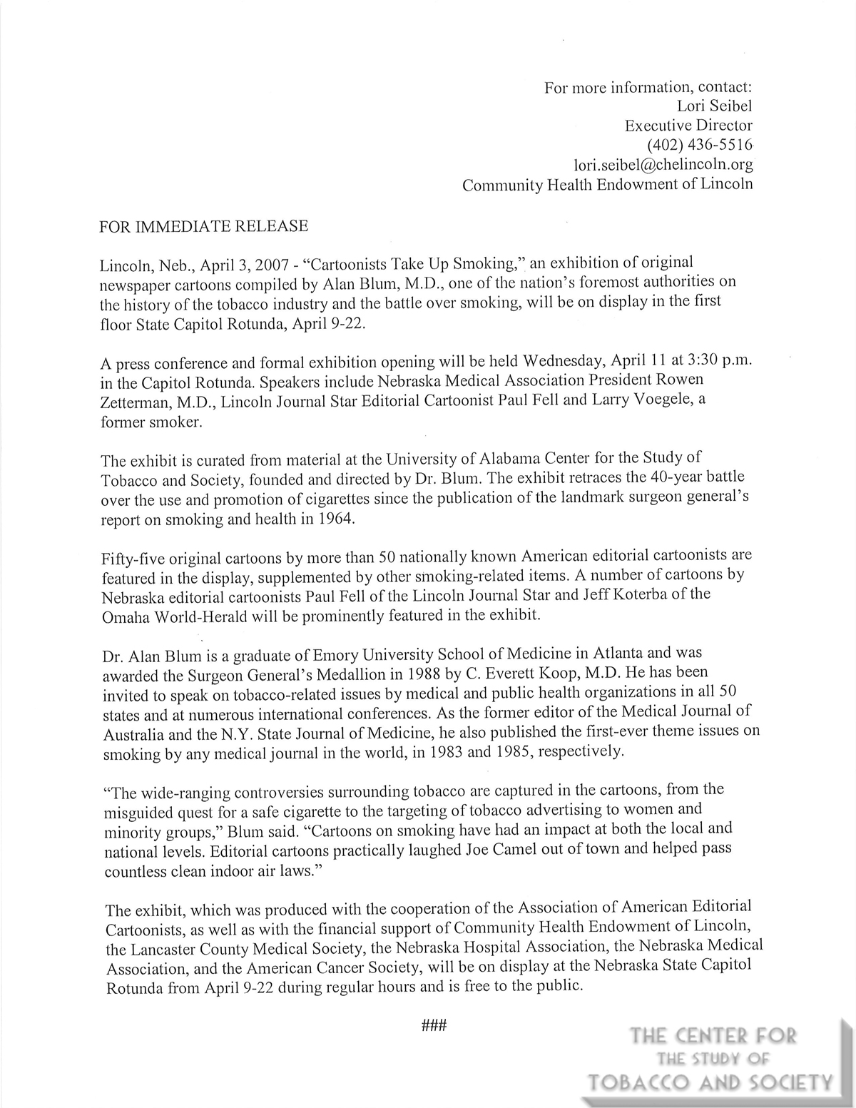 2007 04 03 Lori Seibel Community Health Endownment of Lincoln Press Release