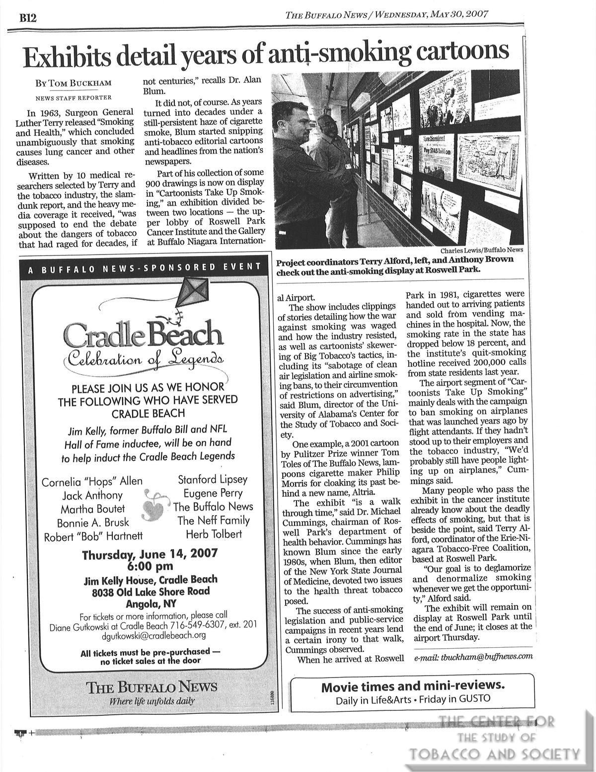 2007 05 30 The Buffalo News Exhibits detail years of anti smoking cartoons