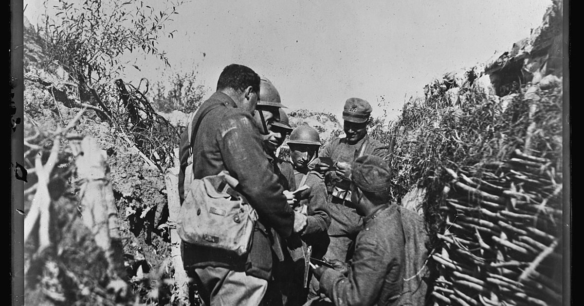 American Red Cross distribution of chocolate cigarettes etc. in Italian front line trenches