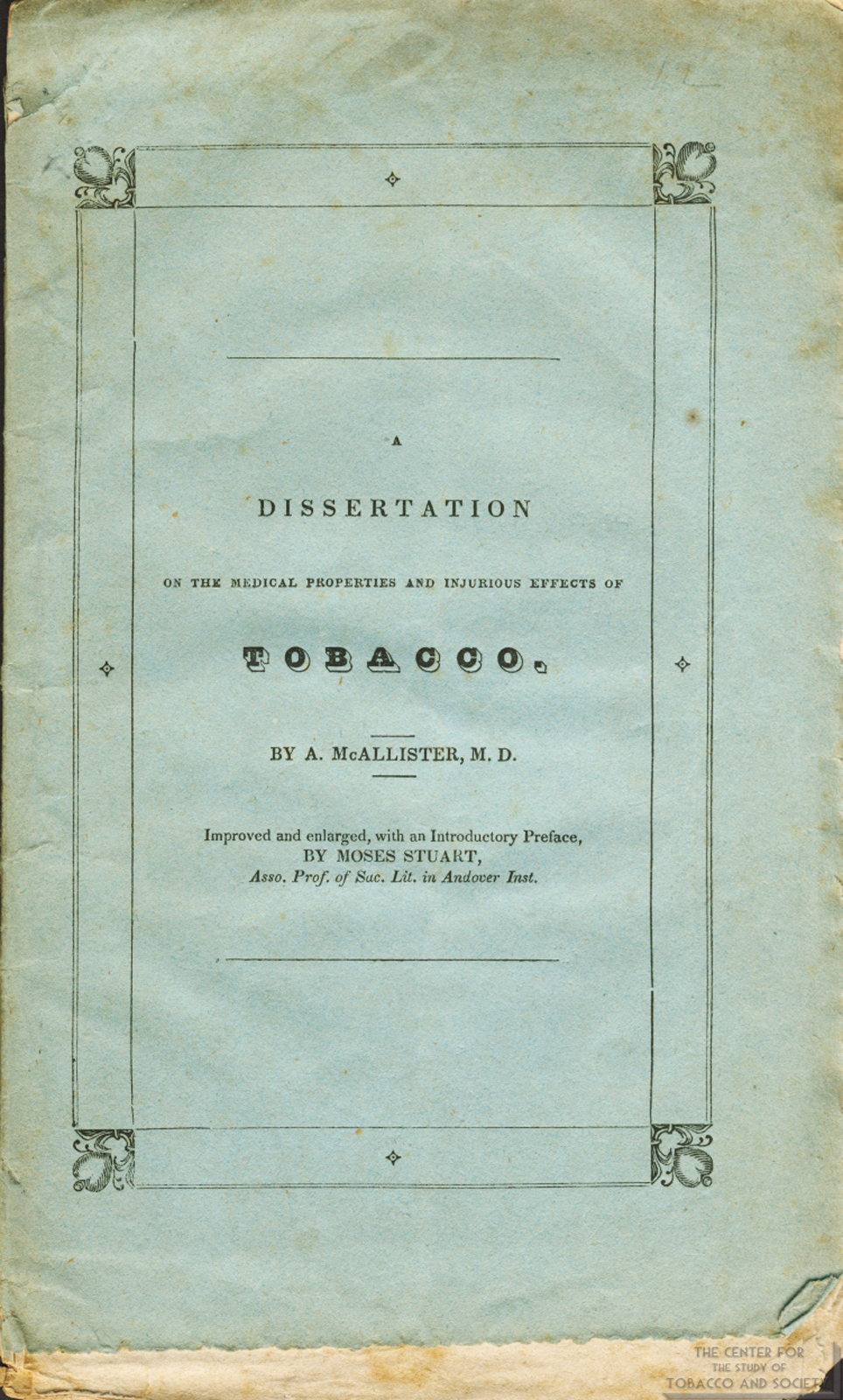 1832 Dissertation on Injurious Effects of Tobacco Front Cover