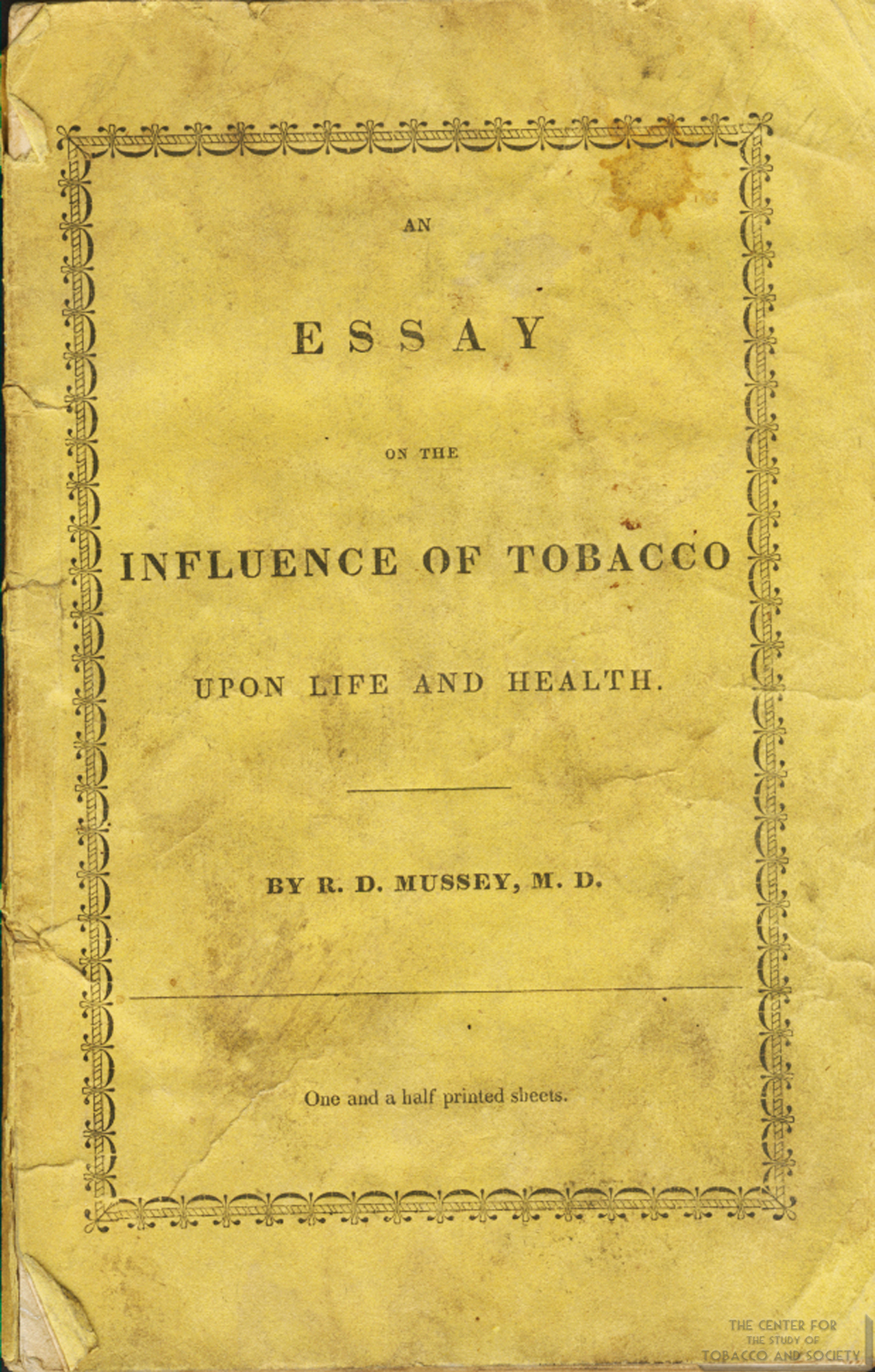 1836 Essay on Tobaccos Influence on Life Health Front Cover