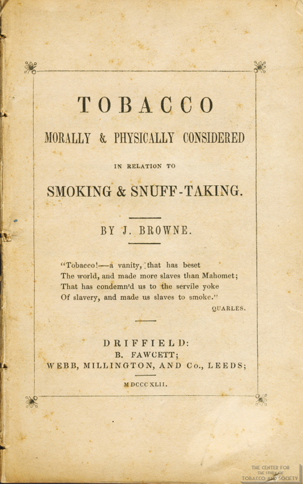 1842 Tobacco Morally Physically Considered