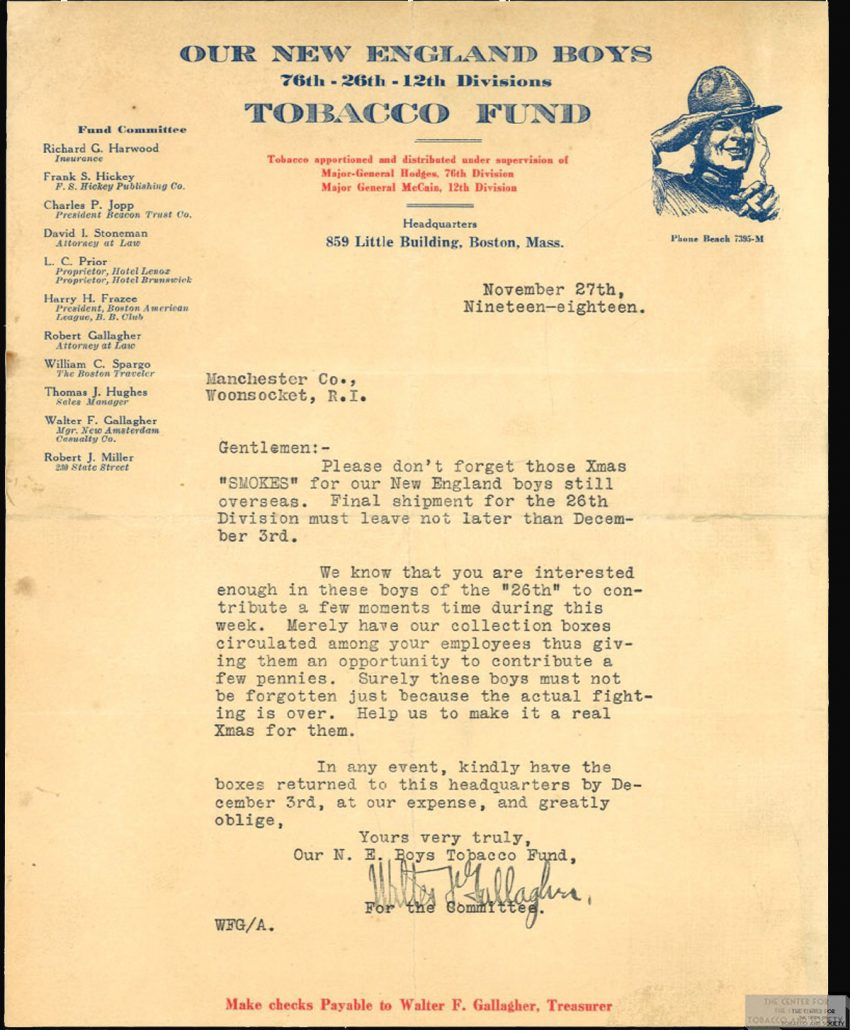 1918 11 27 Our New England Boys Tobacco Fund Letter