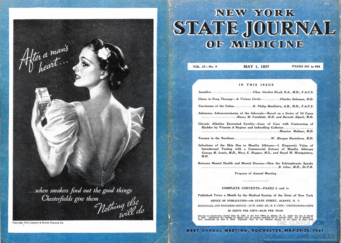 1937 05 01 NYSJM V. 37 No 9 Chesterfield Ad After a Mans Heart