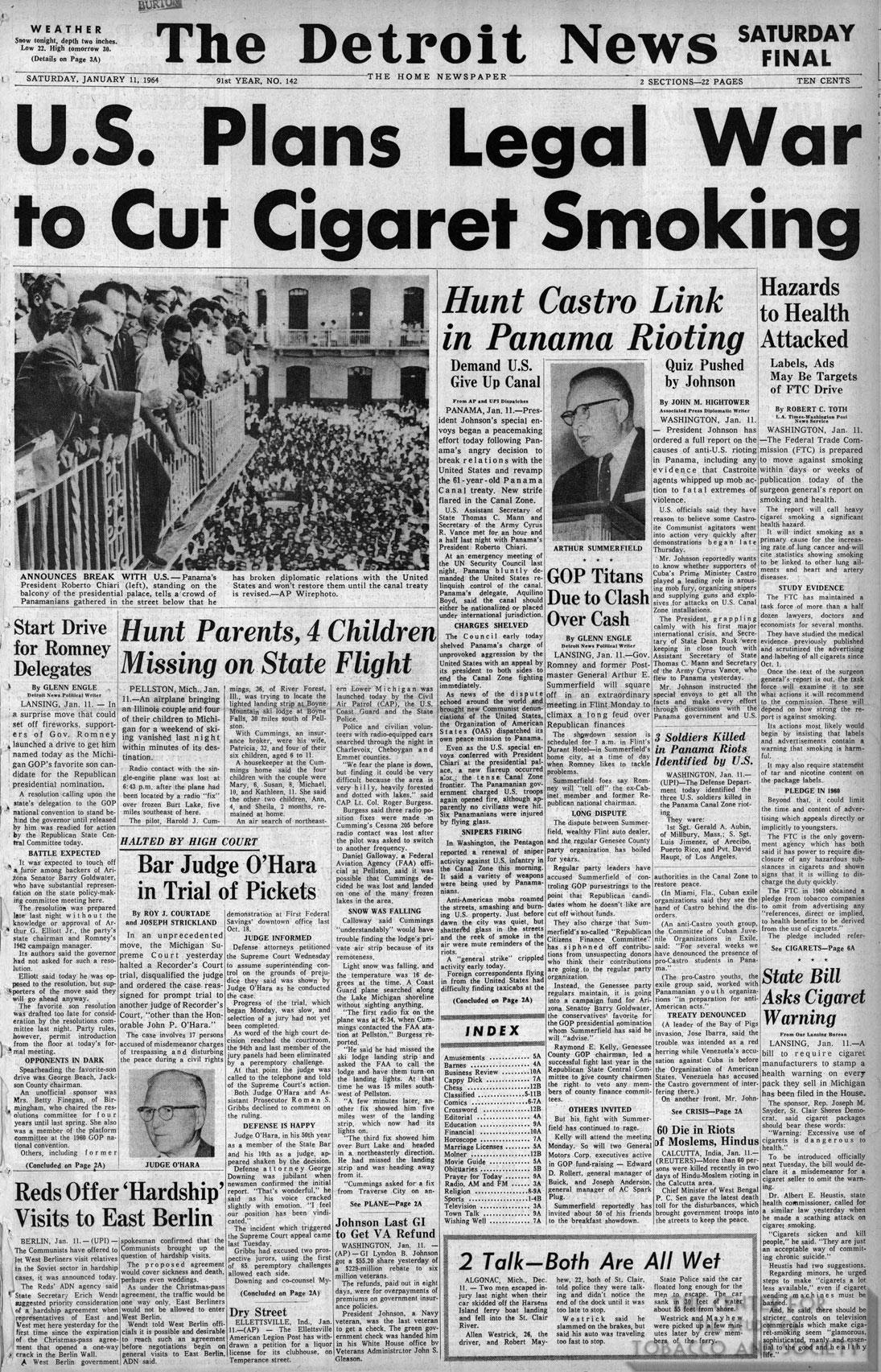 1964 01 11 Detroit News US Plans Legal War to Cut Smoking resized
