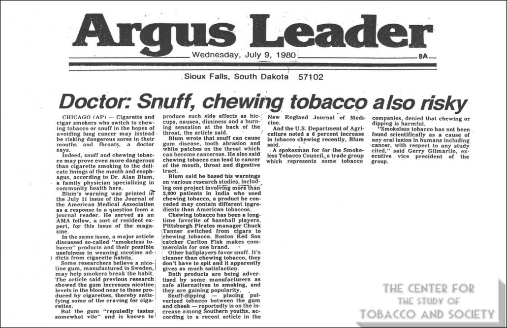 1980 07 09 Argus Leader Doctor Snuff chewing tobacco also risky