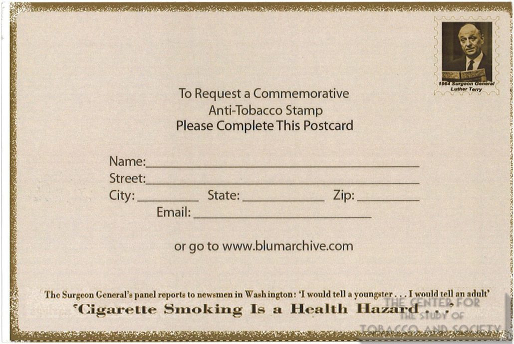Surgeon General Stamp Campaign – The Center for the Study of Tobacco