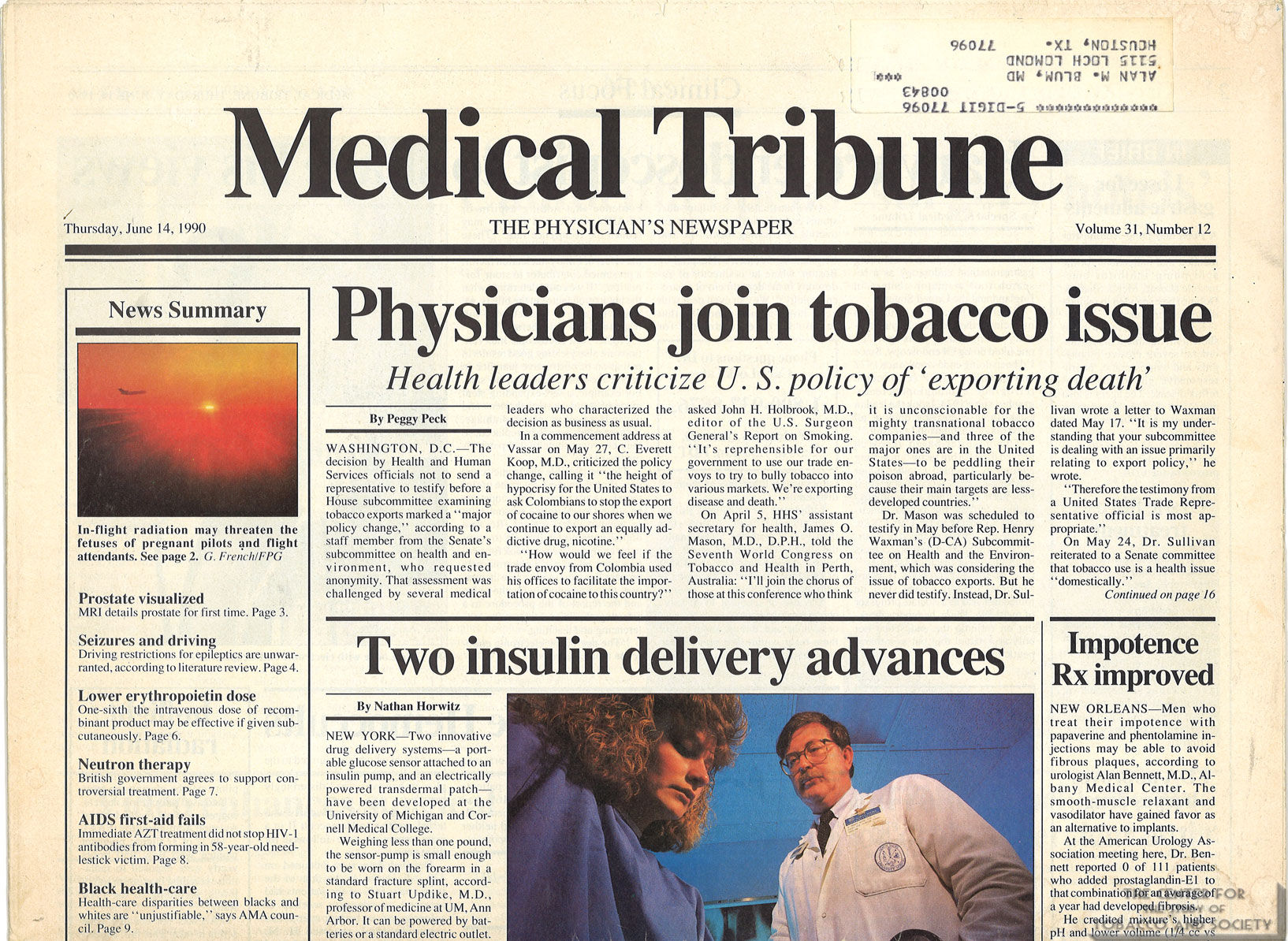 "1990-06-14 - Medical Tribune - ""Physicians join tobacco issue"""