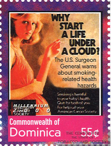 Dominica postage stamp commemorating the U.S. Surgeon General's Report on Smoking and Health