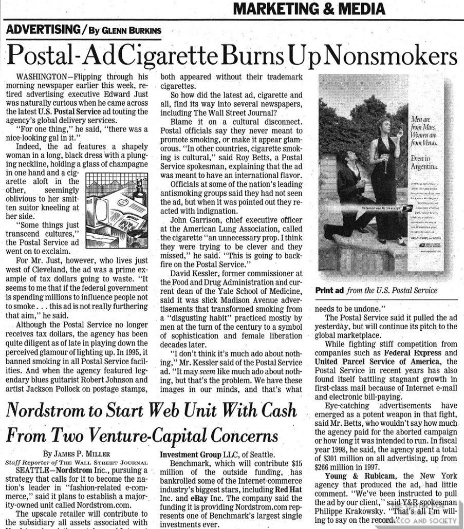 1999-08-25 - The Wall Street Journal - Glenn Burkins - Postal-Ad Cigarette Burns Up Non Smokers