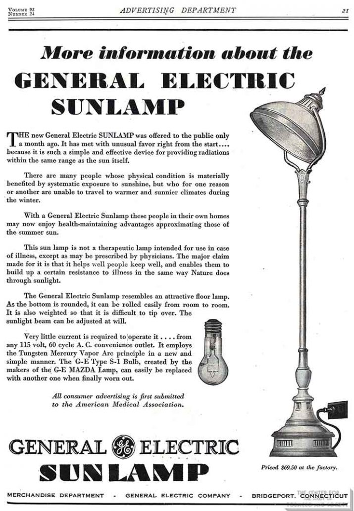 1929-12-14 - Journal of the American Medical Association - General Electric Sunlamp Advertisement