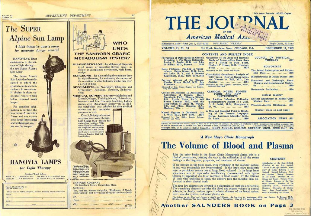 1929-12-14 - Journal of the American Medical Association - Hanovia Lamps for Light Therapy Advertisement