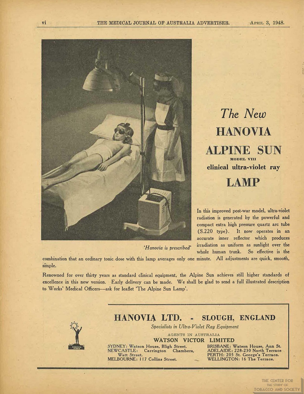 1948 - 04 - 03 - The Medical Journal Of Australia - Hanovia The New Hanovia Alpine Sun Model VIII Clinical Ultraviolet Ray Lamp
