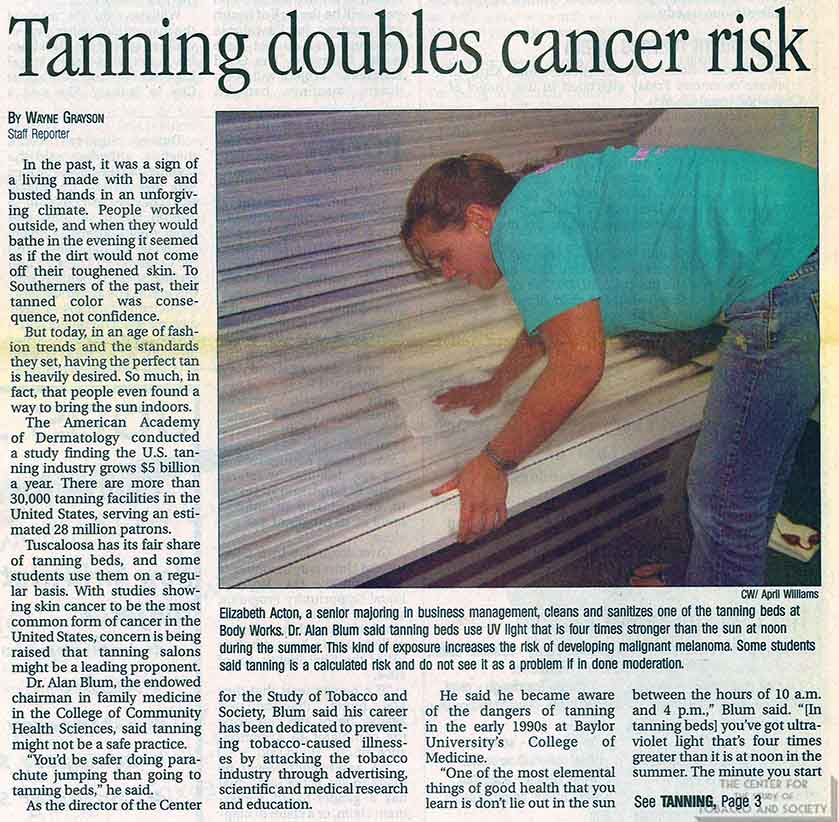 2007-09-19 - The Crimson White - Tanning Doubles Cancer Risk